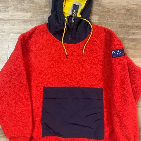 Polo Ralph Lauren Red Navy Rugby Hoodie Sweatshirt White Pony NWT
